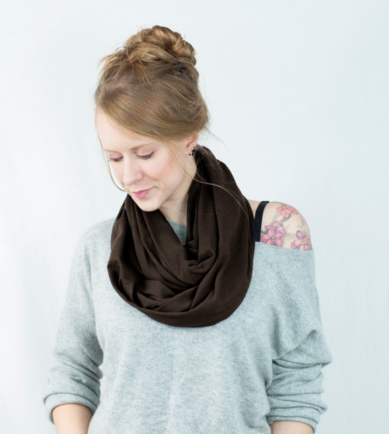 Brown Infinity Scarf Jersey Dark Chocolate Brown Circle Cotton Loop