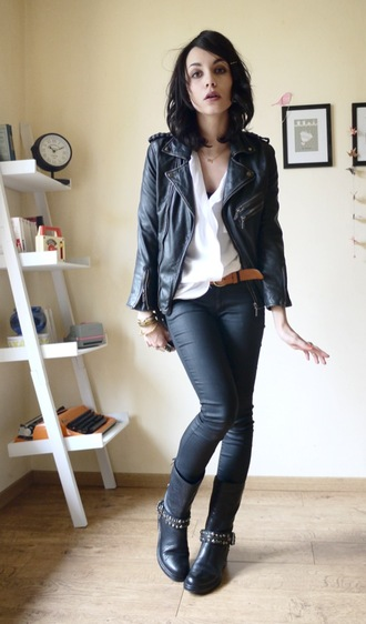 coline leather perfecto black jacket