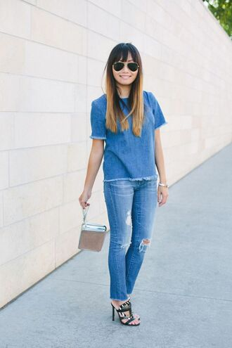 bag clutch metallic clutch jeans blue jeans frayed denim top blue top denim top all denim outfit all blue outfit all blue sandals high heel sandals black sandals spring outfits sunglasses aviator sunglasses silver clutch