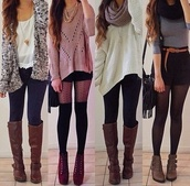 sweater,tights,jewels,scarf,shoes,blouse,cardigan,lovely,winter outfits,cozy,black and white,white top,brown boots,jumper,shirt,oversized sweater,outfit,tumblr outfit,cries,please help?,boots,high heels,leggings,short,necklace,scarves,belt,burgundy,brown,purse,pink,black,white,grey,instagram,selfie,ootd,fall outfits,jewelry,winter coat,top