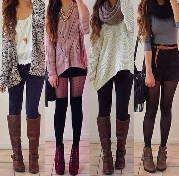 white top cardigan black and white brown boots jumper winter outfits sweater tights jewels scarf shoes blouse