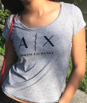 shirt armani exchange grey and black