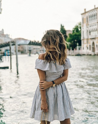 dress blue white frill stripes off the shoulder off the shoulder dress beach seaside nautical stripy dress cute pretty tumblr girl striped dress blue and white navy cream