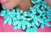 jewels,floral,flowers,statement necklace,turquoise jewelry