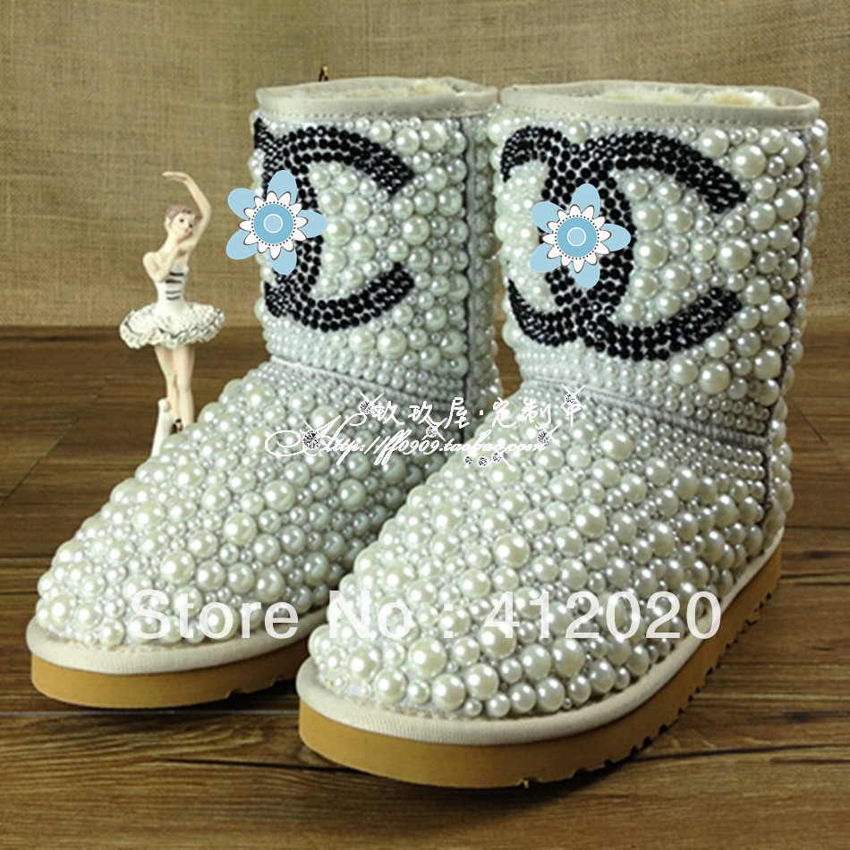 Drop shipping designer luxury Diamond pearl women 5825snow boots, hand make Fashion Women Brand Winter Genuine Leather Fur Boots-inBoots from Shoes on Aliexpress.com | Alibaba Group