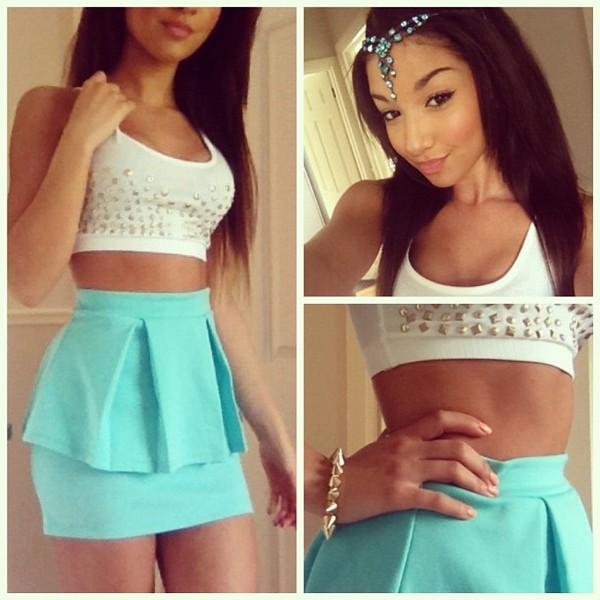tank top blue skirt crop tops shirt jewels skirt