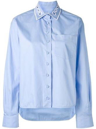 shirt collar shirt women cotton blue top