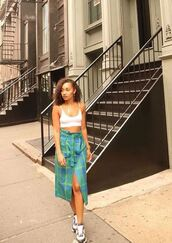 skirt,plaid skirt,plaid,instagram,top,bralette,crop tops,white top,leigh-anne pinnock,sneakers