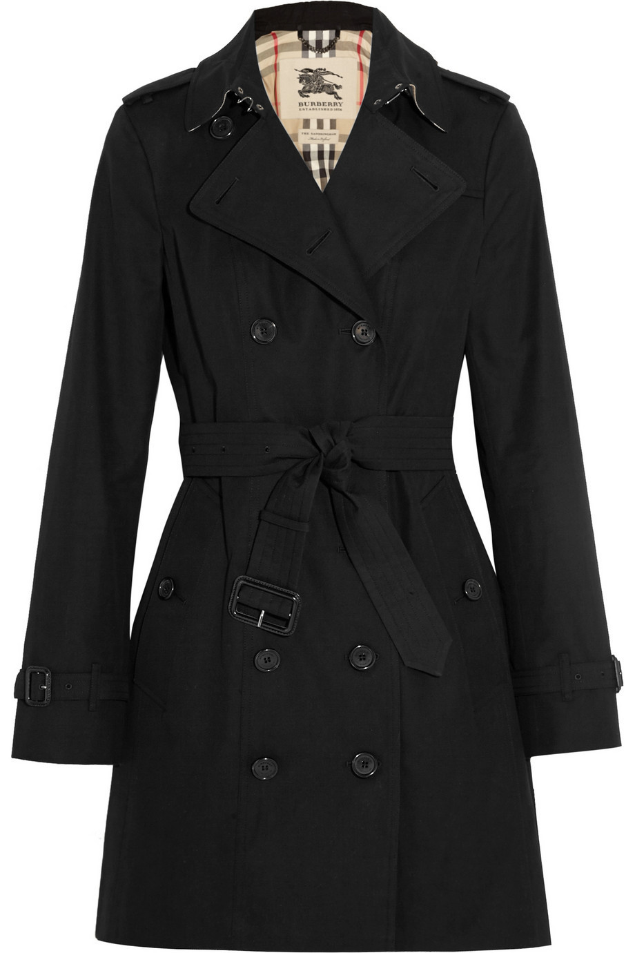 Burberry London The Sandringham Mid Cotton-Gabardine Trench Coat in black