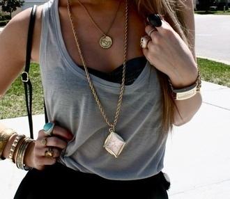 jewels necklace clock stacked bracelets gold black skirt
