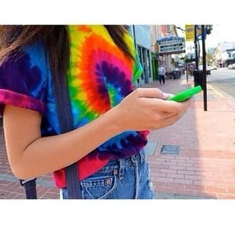 t-shirt tie dye tumblr outfit tumblr shirt hipster