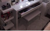 home accessory,bench,chair,white,make-up,makeup brushes,mirror,silver
