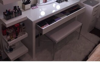 home accessory bench chair white make-up makeup brushes mirror silver