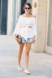 shorts,denim,denim shorts,top,white top,sunglasses,shoes,sneakers