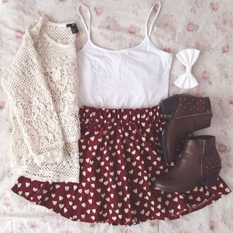 skirt heart pattern skirt heart heart pattern love cute cute outfits nice nice outfit summer outfits summer spring outfits spring iwantit blouse shoes spring skirt tank top bow lace jacket