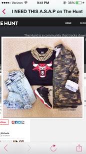 jacket,camo jacket,ripped jeans,college,chicago bulls,shirt,jeans,shoes,jewels,pants,jordans