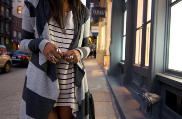 striped sweater flyaway cardigan