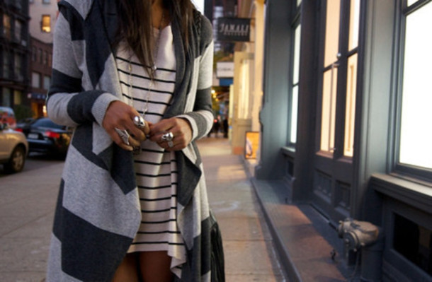 striped sweater flyaway cardigan