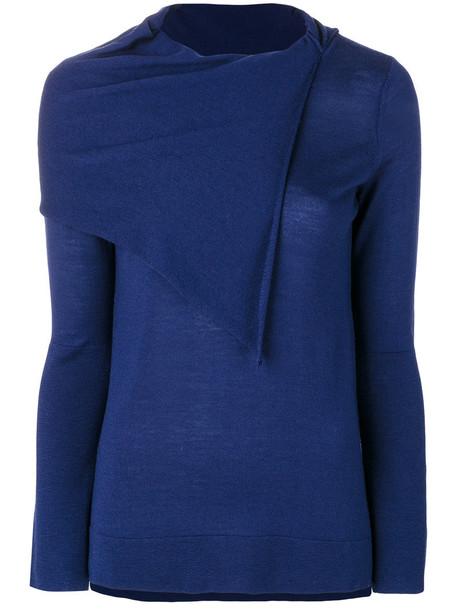 Zanone - asymmetric jumper - women - Wool - 44, Blue, Wool