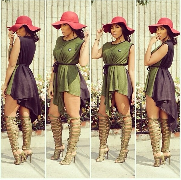 Breckelles Military Green Thigh High Gladiator Heels @ Cicihot