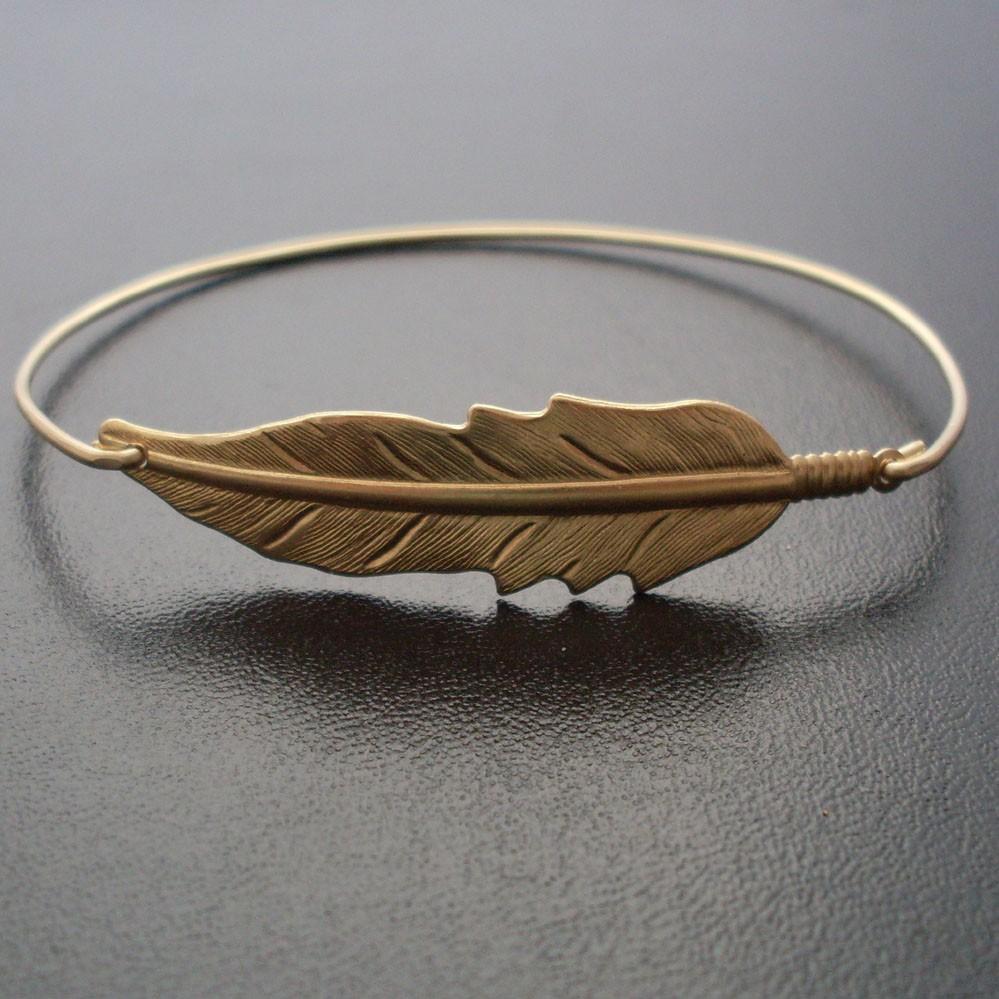 Bangle Bracelet Gold Feather Bracelet Feather Jewelry Nature