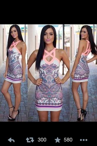 dress coral tribal pattern aztec tribal print dress