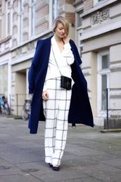 pants,blouse,long coat,wide-leg pants,mini bag,checkered,shoes,bag,navy coat,mini shoulder bag,blue long coat