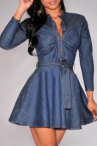 dress zaful denim dress long sleeve denim dress bow tie dress denim bow tie dress long sleeve dress mini dress denim mini dress