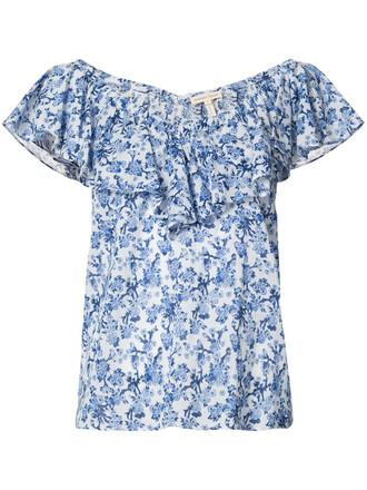 top women floral cotton print blue