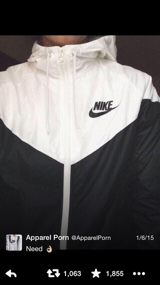 jacket nike black white zip pretty coat winter jacket cool cold style cute sweater