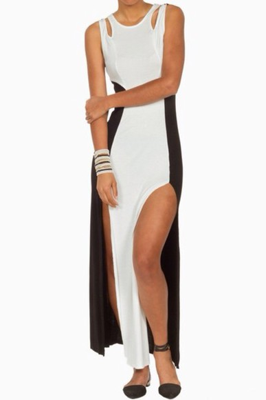 dress black slit skirt fashion white