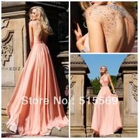 A line keyhole back chiffon beading jewel chiffon pleats cap sleeves pink tarik ediz evening dress gowns 2014