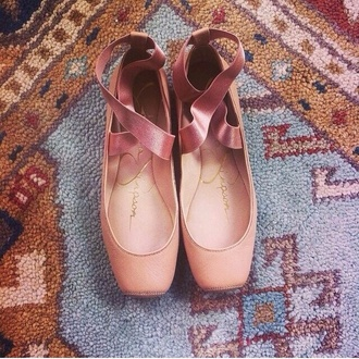 pink ballet flats peach romantic shoes
