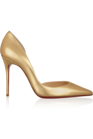 Christian Louboutin | Iriza 100 metallic leather pumps | NET-A-PORTER.COM