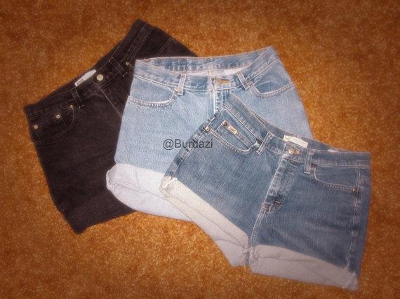 All sizes plain cuffed high waisted shorts by burdazi on etsy