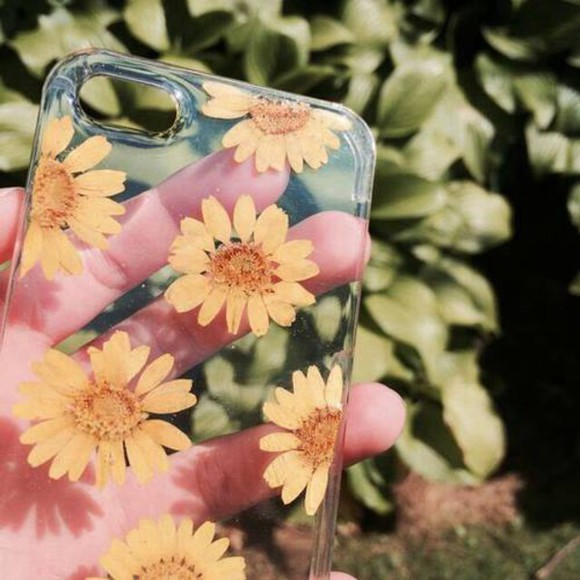floral green orange flower phone case case iphone iphone case real pressed clear see through cover phone yellow