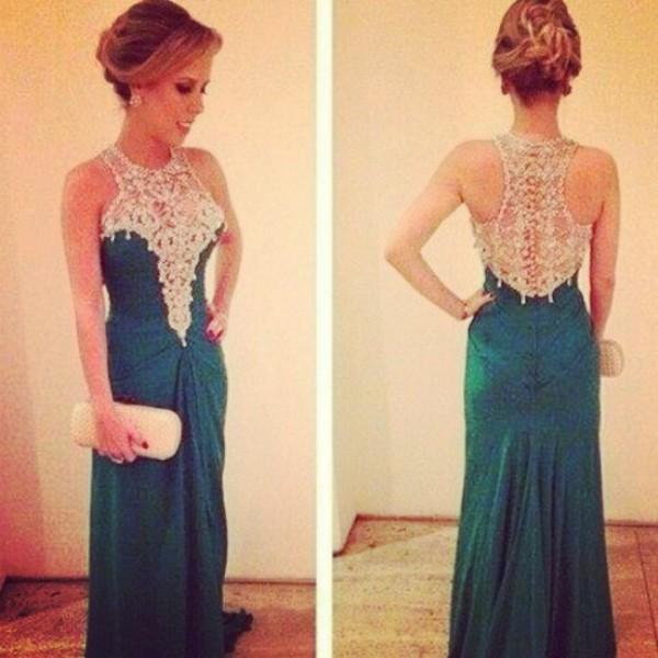 dress green dimonds prom dress long prom dress