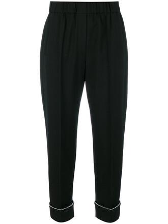cropped women spandex ball black wool pants