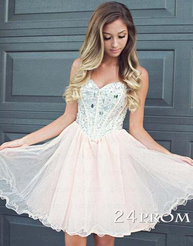 Sweetheart A-line Rhinestone Tulle Short Prom Dresses, Homecoming Dresses - 24prom