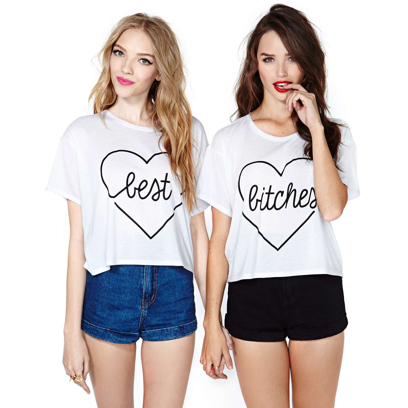 2014 summer best bitches heart print short sleeve o neck white t shirt women loose haoduoyi xs~xxl free shipping wsz 1024