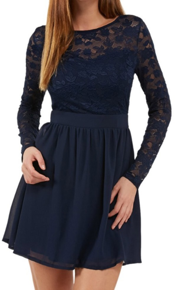 navy blue lace sleeve