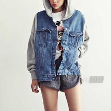 Hoodie Hooded Denim Jean Coat Jacket Outerwear Top Vintage | eBay