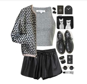 jacket,on point clothing,bomber jacket,triangle,geometric,geometric print,pattern,black and white,black,grey,white,black bomber jacket,shorts,black shorts,black leather,black leather shorts,leather shorts,top,crop tops,grey crop top,black shoes,shoes,sunglasses,wallet,style,cute,cool,girl,edgy,instagram,blogger,authentic,clothes,gorgeous,women,fashionista,chill,rad,casual,tumblr,tumblr outfit,jewels