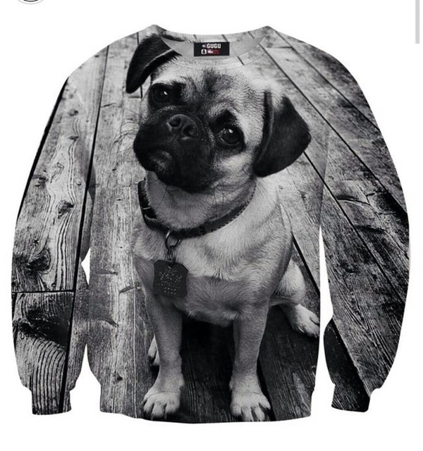 sweater black and white pugs double sided cute pug life sweatshirt dog printed sweater grey