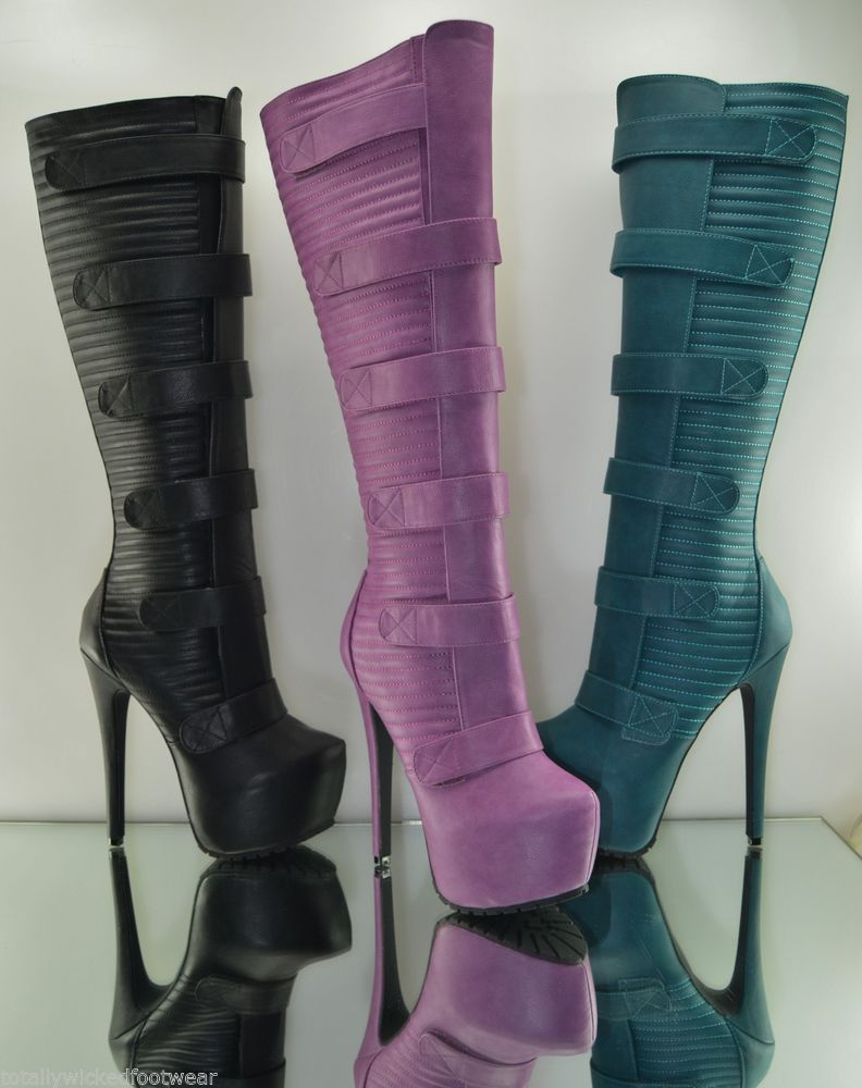 Privileged Harley Fuchsia Purple Platform Sexy Biker Knee Boot Deep Tread Sole