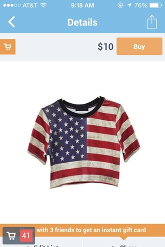 shirt american flag american flag crop top american flag crop tops crop-tops croptops croptop red white blue starbucks coffee stars distressed