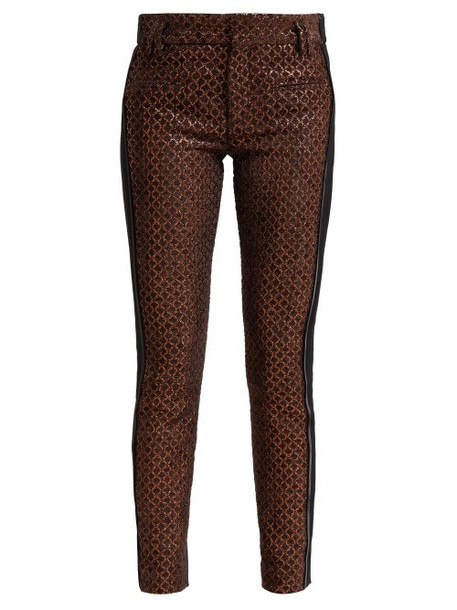 Haider Ackermann - Contrast Panel Velvet And Leather Trousers - Womens - Brown Multi
