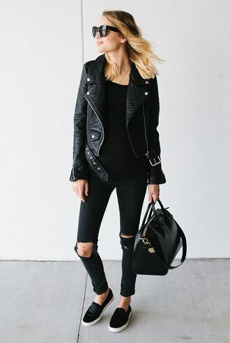shoes black leather jacket black sweater ripped jeans black bag blogger sunglasses black sneakers