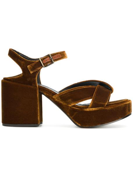 Jil Sander women sandals platform sandals leather velvet brown shoes