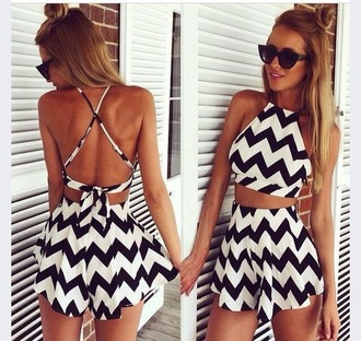 top cute black white shorts summer spring style zigzag summer top spring break hair accessory dress